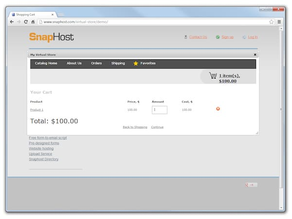 Платформа для создания интернет-магазинов SnapHost Virtual Store