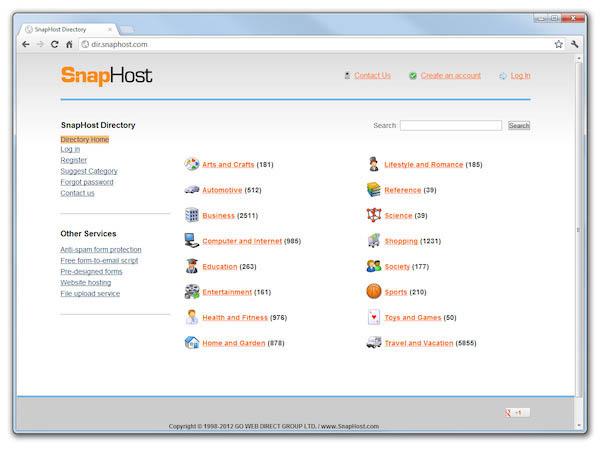 Разработка каталога сайтов SnapHost Directory Service