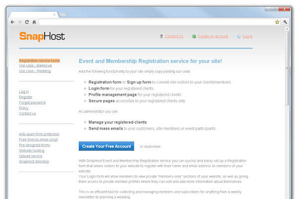 Сервис онлайн-подписки SnapHost Online Registration Service