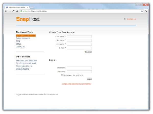 Разработка сервиса загрузки файлов Upload SnapHost Service